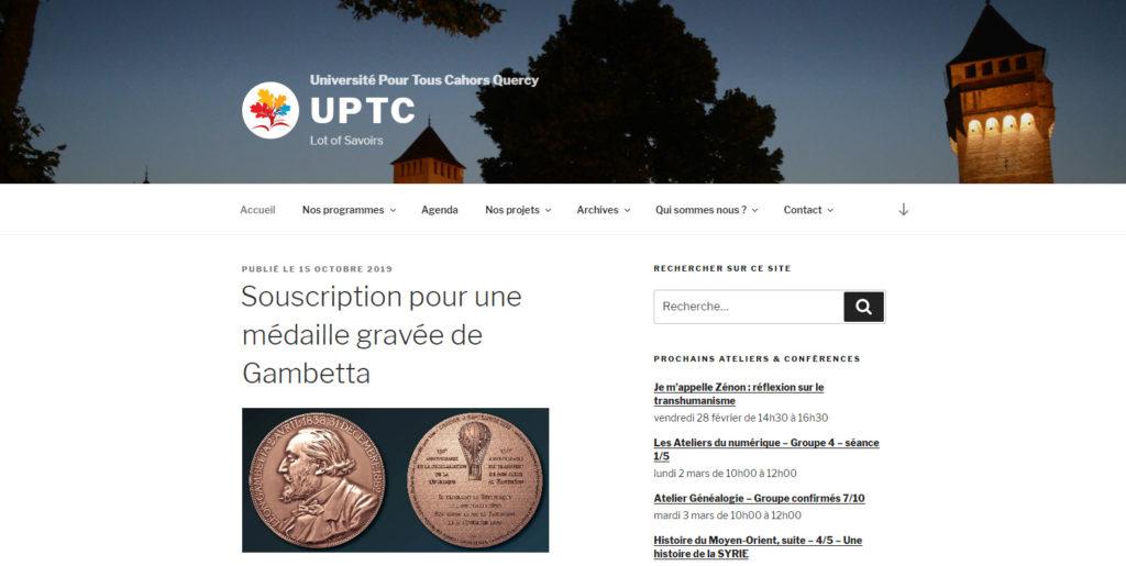 Association UPTC : page d'accueil